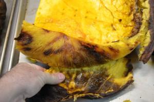 Peeling Roasted Pumpkin