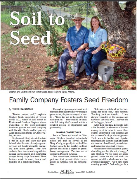 Acres USA Soil to Seed Article