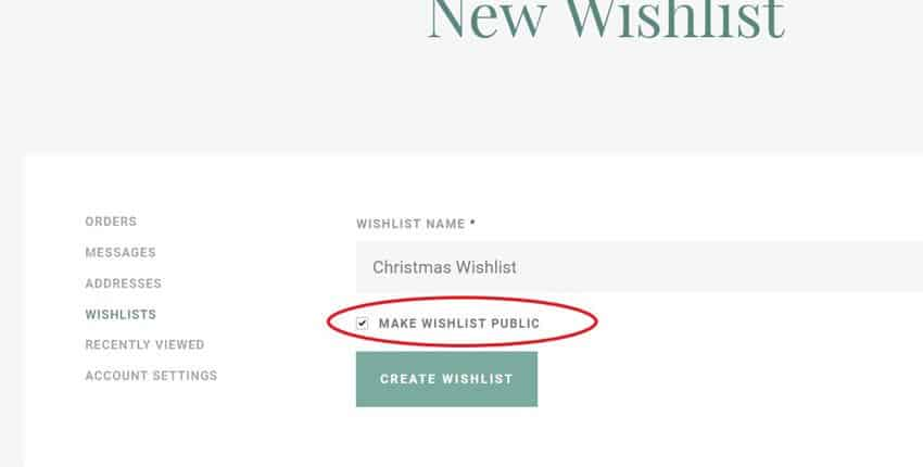 Create a new wishlist