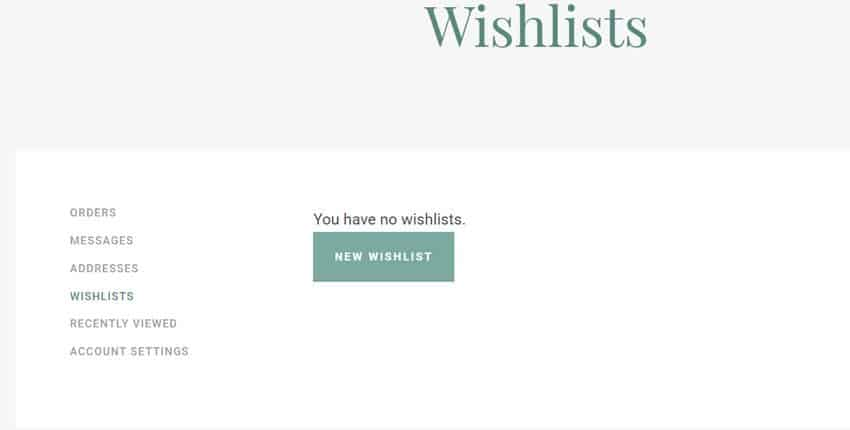 Wishlist screen