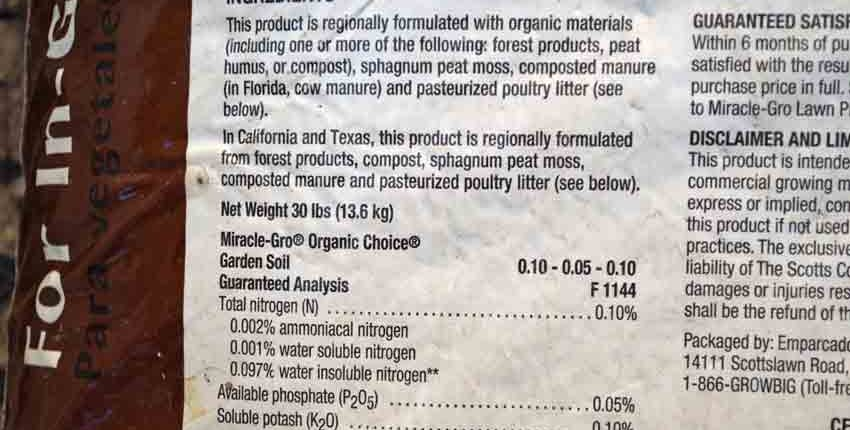Organic Choice Potting Soil Ingredients
